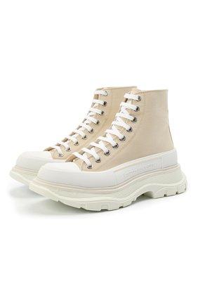 Женские текстильные ботинки tread slick ALEXANDER MCQUEEN бежевого цвета, арт. 611706/W4L3A | Фото 1