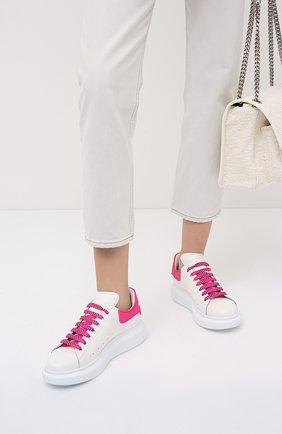 Женские кожаные кеды xl sole ALEXANDER MCQUEEN розового цвета, арт. 621056/WHXMT | Фото 2 (Материал внутренний: Натуральная кожа; Подошва: Платформа)