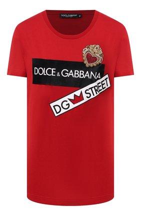 Женская хлопковая футболка DOLCE & GABBANA красного цвета, арт. F8L61Z/G7WWC | Фото 1