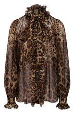 Женская шелковая блузка DOLCE & GABBANA коричневого цвета, арт. F5J60T/FS1AR   Фото 1