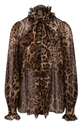 Женская шелковая блузка DOLCE & GABBANA коричневого цвета, арт. F5J60T/FS1AR | Фото 1