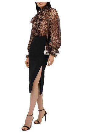 Женская шелковая блузка DOLCE & GABBANA коричневого цвета, арт. F5J60T/FS1AR | Фото 2