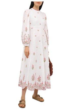 Женское льняное платье ZIMMERMANN светло-розового цвета, арт. 9332DP0P | Фото 2
