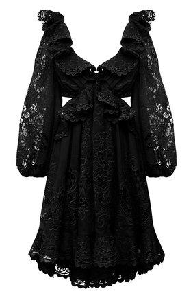 Женское хлопковое платье ZIMMERMANN черного цвета, арт. 9340DBRG | Фото 1
