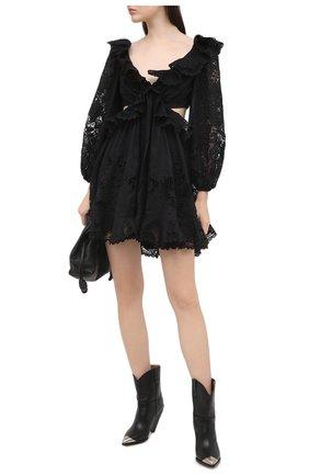Женское хлопковое платье ZIMMERMANN черного цвета, арт. 9340DBRG | Фото 2