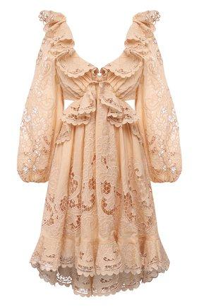 Женское хлопковое платье ZIMMERMANN бежевого цвета, арт. 9340DBRG | Фото 1
