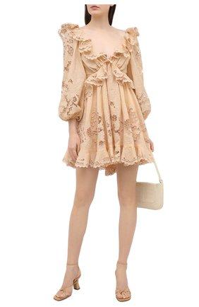 Женское хлопковое платье ZIMMERMANN бежевого цвета, арт. 9340DBRG | Фото 2
