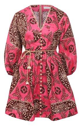 Женское льняное платье ZIMMERMANN розового цвета, арт. 9365DLLU | Фото 1