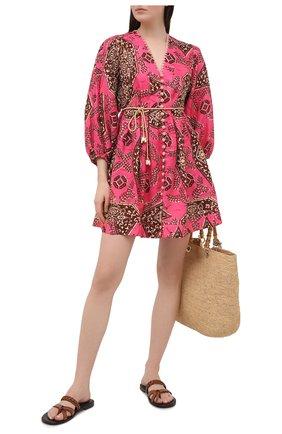 Женское льняное платье ZIMMERMANN розового цвета, арт. 9365DLLU | Фото 2