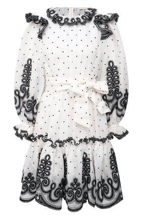 Женское платье из шелка и льна ZIMMERMANN черно-белого цвета, арт. 9562DAND | Фото 1