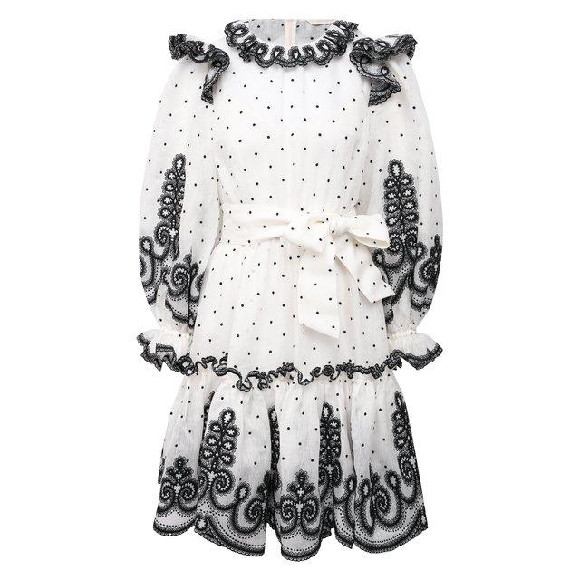 Платье из шелка и льна Zimmermann