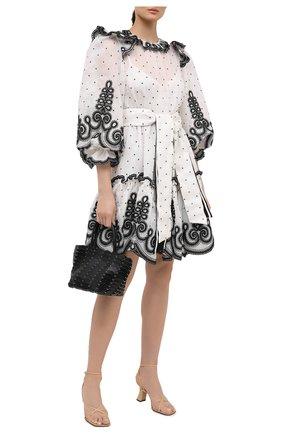 Женское платье из шелка и льна ZIMMERMANN черно-белого цвета, арт. 9562DAND | Фото 2