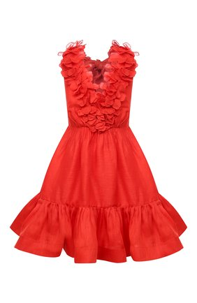 Женское платье из шелка и льна ZIMMERMANN красного цвета, арт. 9594DAND | Фото 1
