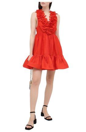 Женское платье из шелка и льна ZIMMERMANN красного цвета, арт. 9594DAND | Фото 2