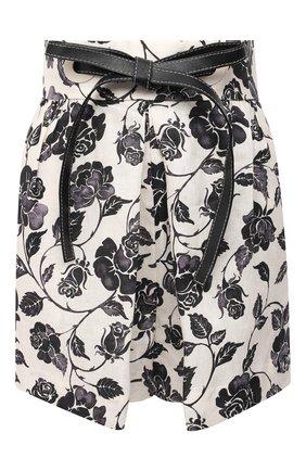 Женские льняные шорты ZIMMERMANN черно-белого цвета, арт. 9627AAND | Фото 1