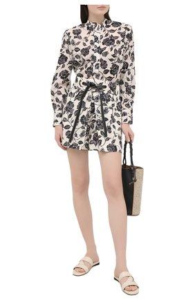 Женские льняные шорты ZIMMERMANN черно-белого цвета, арт. 9627AAND | Фото 2