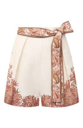 Женские льняные шорты ZIMMERMANN бежевого цвета, арт. 9663ABRG | Фото 1