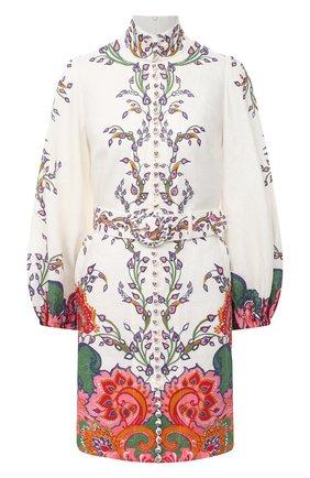 Женское льняное платье ZIMMERMANN белого цвета, арт. 9718DAND | Фото 1