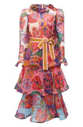 Женское платье из хлопка и шелка ZIMMERMANN бордового цвета, арт. 9724DAND | Фото 1