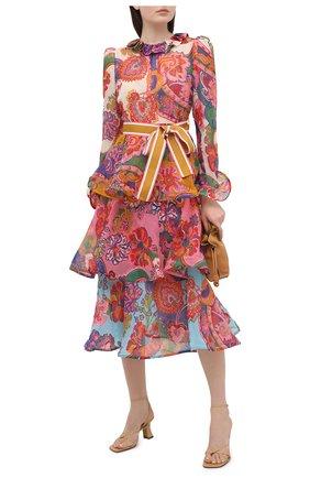 Женское платье из хлопка и шелка ZIMMERMANN бордового цвета, арт. 9724DAND | Фото 2