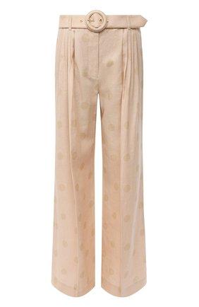Женские брюки из хлопка и льна ZIMMERMANN бежевого цвета, арт. 9759PAND | Фото 1