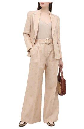 Женские брюки из хлопка и льна ZIMMERMANN бежевого цвета, арт. 9759PAND | Фото 2