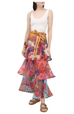Женская юбка из хлопка и шелка ZIMMERMANN бордового цвета, арт. 9785SAND | Фото 2