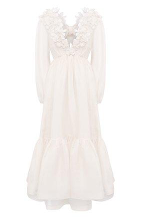 Женское платье из шелка и льна ZIMMERMANN белого цвета, арт. 9807DAND | Фото 1