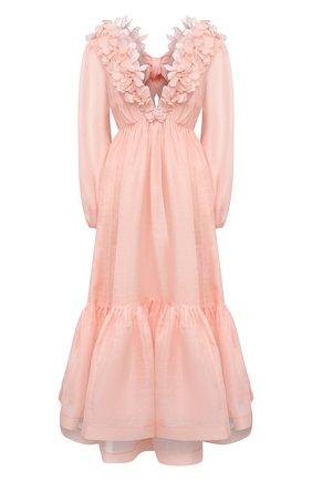 Женское платье из шелка и льна ZIMMERMANN светло-розового цвета, арт. 9807DAND | Фото 1