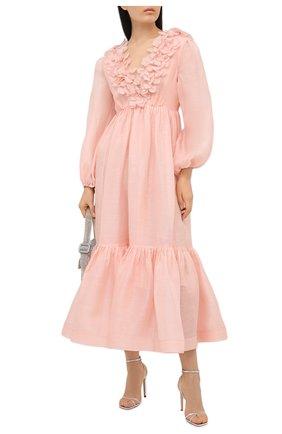 Женское платье из шелка и льна ZIMMERMANN светло-розового цвета, арт. 9807DAND | Фото 2