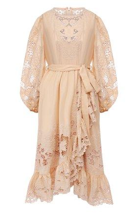 Женское хлопковое платье ZIMMERMANN бежевого цвета, арт. 9879DBRG | Фото 1