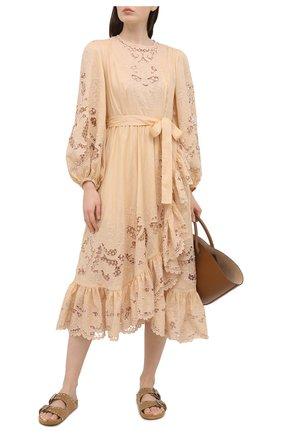 Женское хлопковое платье ZIMMERMANN бежевого цвета, арт. 9879DBRG | Фото 2