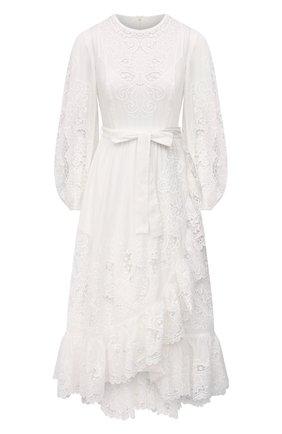 Женское хлопковое платье ZIMMERMANN белого цвета, арт. 9879DLLU | Фото 1