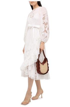 Женское хлопковое платье ZIMMERMANN белого цвета, арт. 9879DLLU | Фото 2