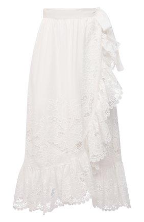 Женская хлопковая юбка ZIMMERMANN белого цвета, арт. 9881SLLU | Фото 1