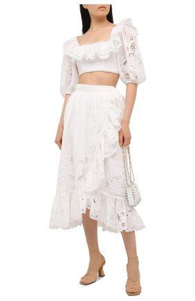 Женская хлопковая юбка ZIMMERMANN белого цвета, арт. 9881SLLU | Фото 2