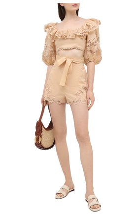 Женские хлопковые шорты ZIMMERMANN бежевого цвета, арт. 9958ABRG | Фото 2