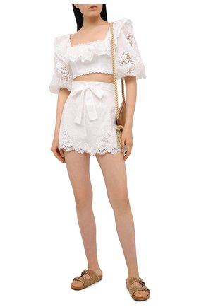 Женские хлопковые шорты ZIMMERMANN белого цвета, арт. 9958ALLU | Фото 2