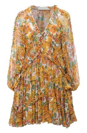 Женское шелковое платье ZIMMERMANN желтого цвета, арт. 9977DP0P | Фото 1