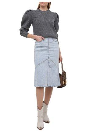 Женский шерстяной свитер ISABEL MARANT серого цвета, арт. PU1547-21P029I/R0BIN   Фото 2
