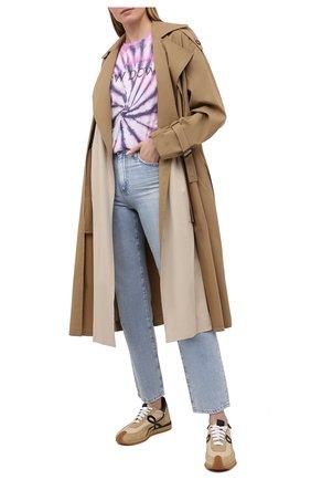 Женская хлопковая футболка ISABEL MARANT ETOILE фиолетового цвета, арт. TS0406-21P044E/ZEWEL | Фото 2