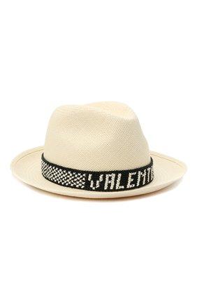 Женская соломенная шляпа valentino x borsalino VALENTINO черно-белого цвета, арт. VW2HAA57/WDI | Фото 1 (Материал: Растительное волокно)