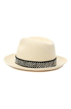 Женская соломенная шляпа valentino x borsalino VALENTINO черно-белого цвета, арт. VW2HAA57/WDI | Фото 2 (Материал: Растительное волокно)