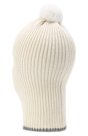 Детского хлопковая шапка-балаклава CHOBI бежевого цвета, арт. WH-3012 | Фото 2