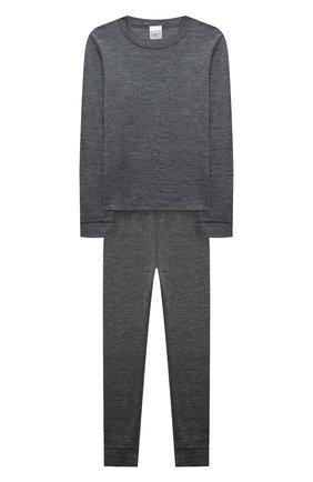 Детский комплект из лонгслива и брюк WOOL&COTTON серого цвета, арт. HRUFP | Фото 1