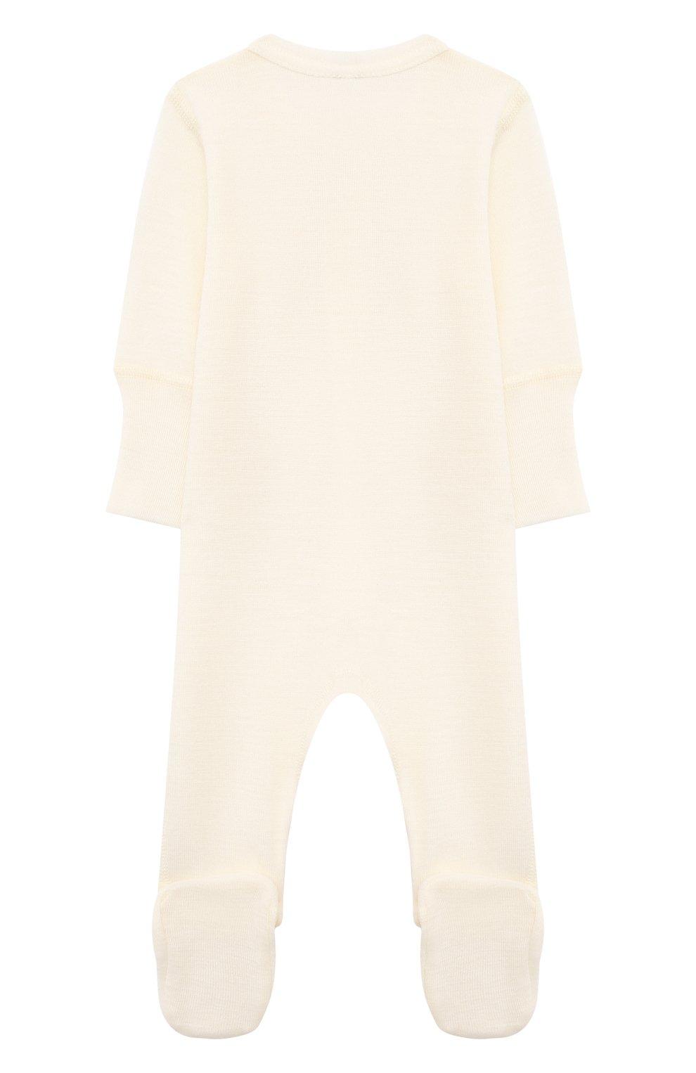 Детский комбинезон из шерсти и хлопка WOOL&COTTON бежевого цвета, арт. OMLRB | Фото 2