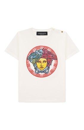 Детский хлопковая футболка VERSACE белого цвета, арт. 1000101/1A00122 | Фото 1