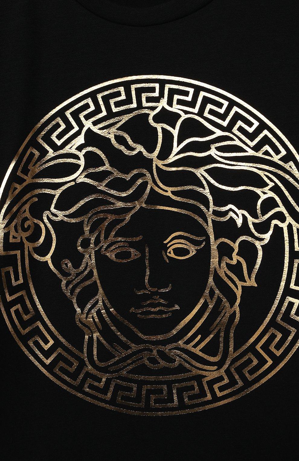 Детский хлопковая футболка VERSACE черного цвета, арт. 1000102/1A00229 | Фото 3