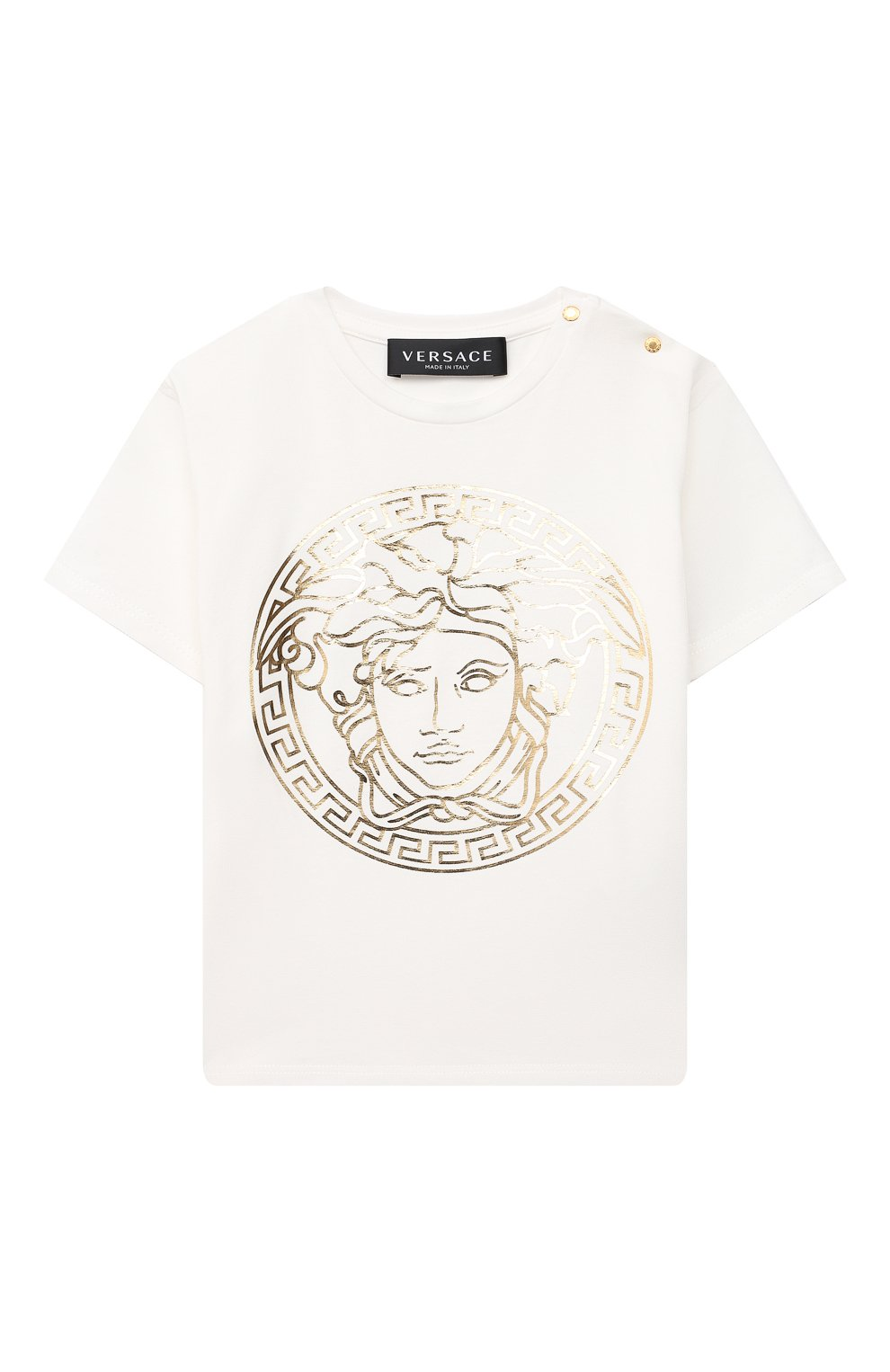 Детский хлопковая футболка VERSACE белого цвета, арт. 1000102/1A00229 | Фото 1