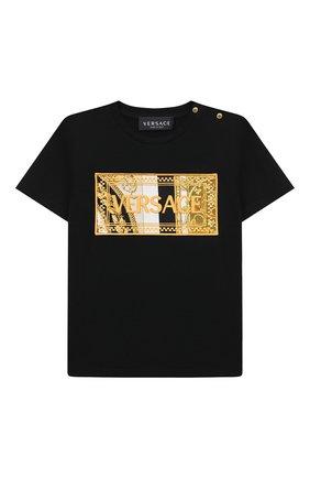 Детский хлопковая футболка VERSACE черного цвета, арт. 1000102/1A00268 | Фото 1